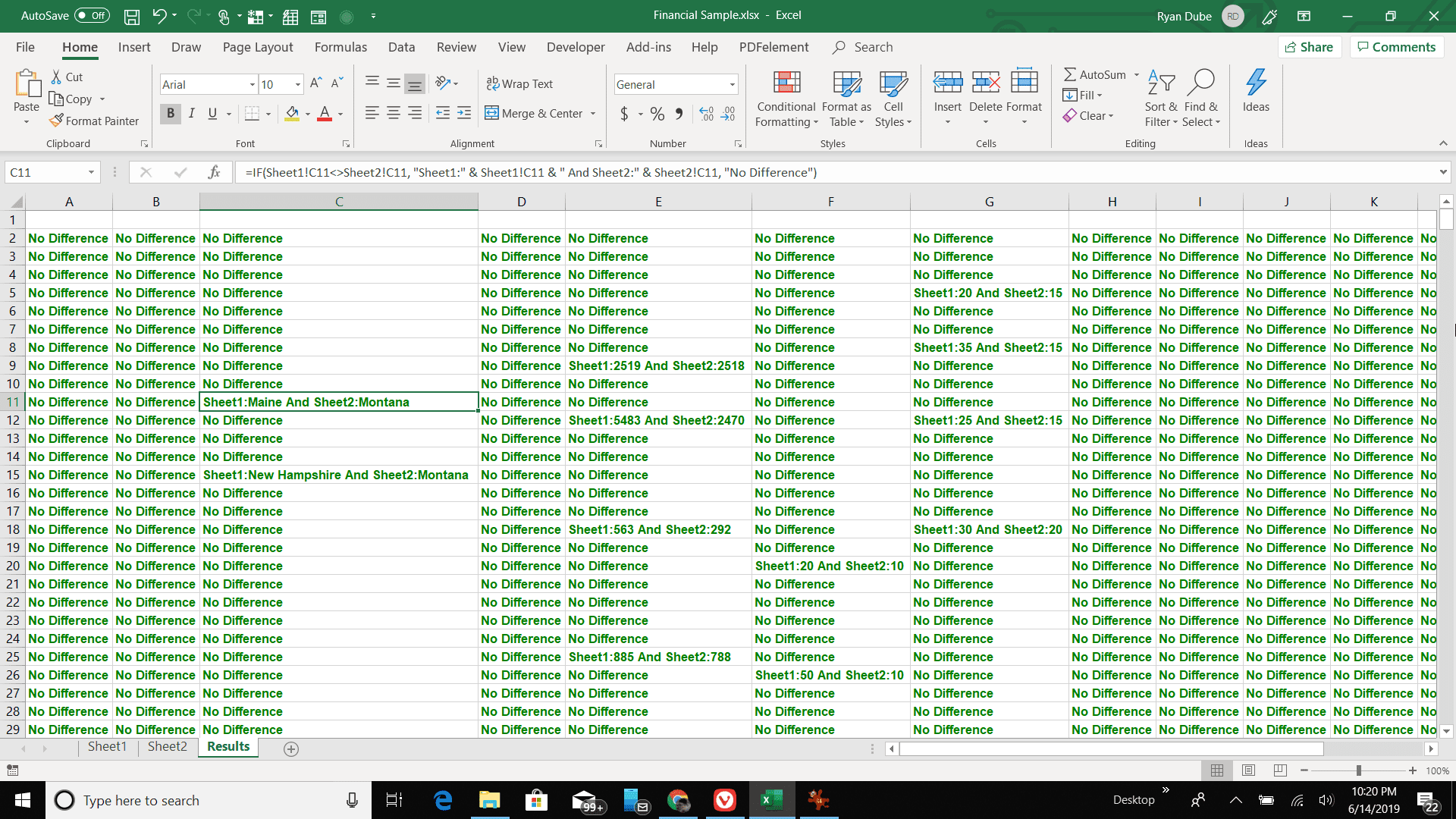 Screenshot of worksheet comparison results