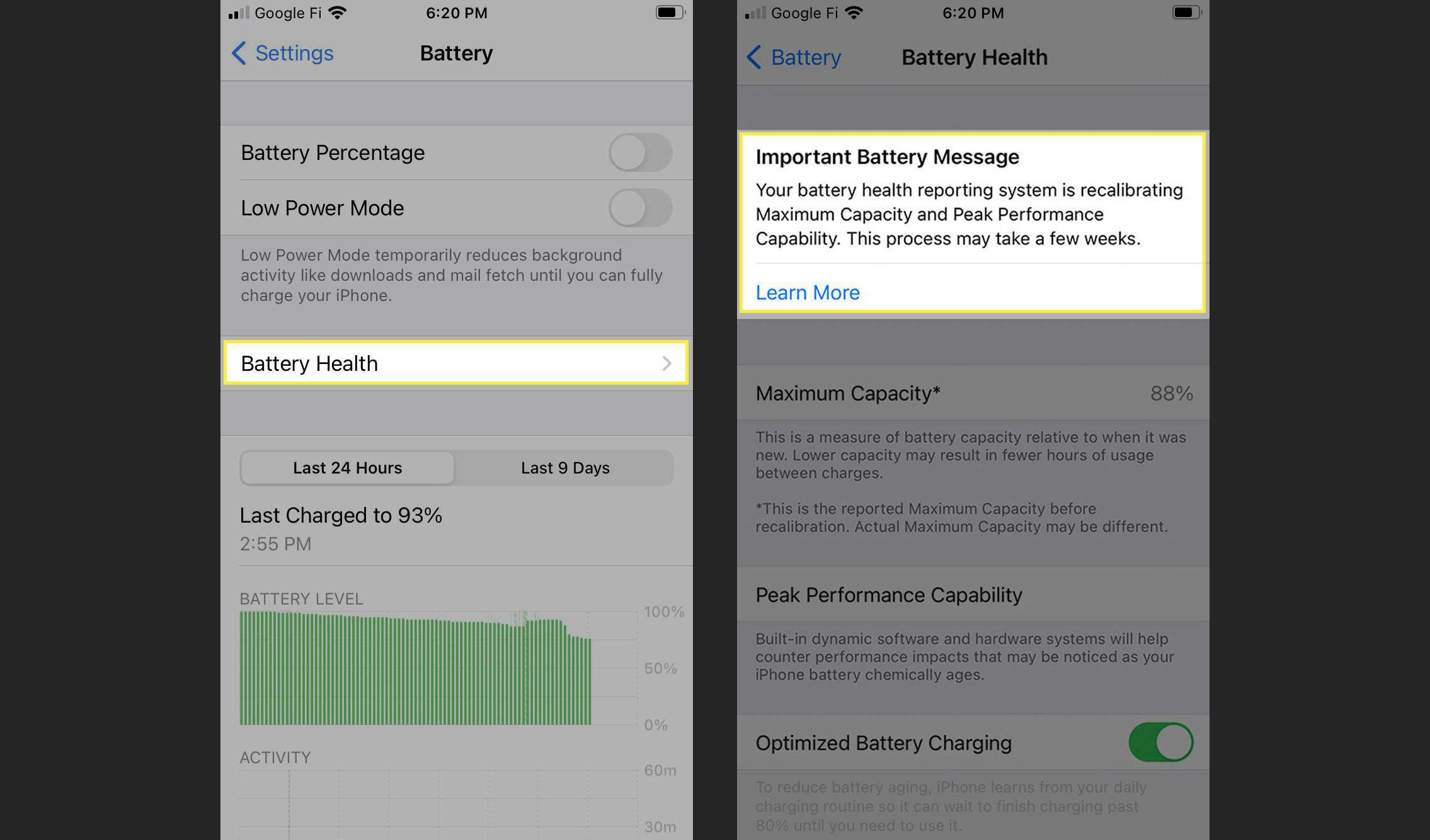 Battery health information on iOS 14.5.