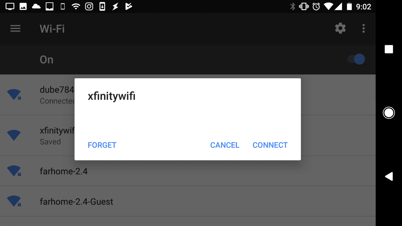 Screenshot of connecting to Wi-Fi on Android