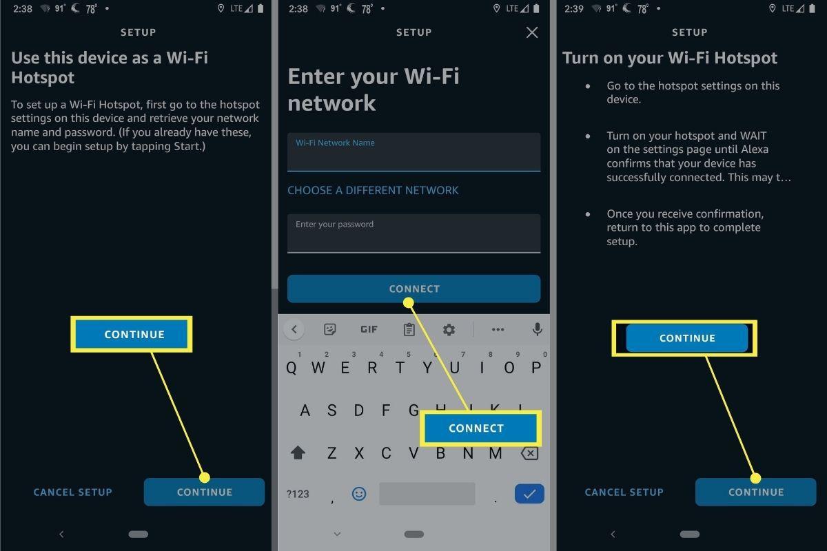 Continue > Connect > Continue in Alexa Wi-Fi Hotspot Setup