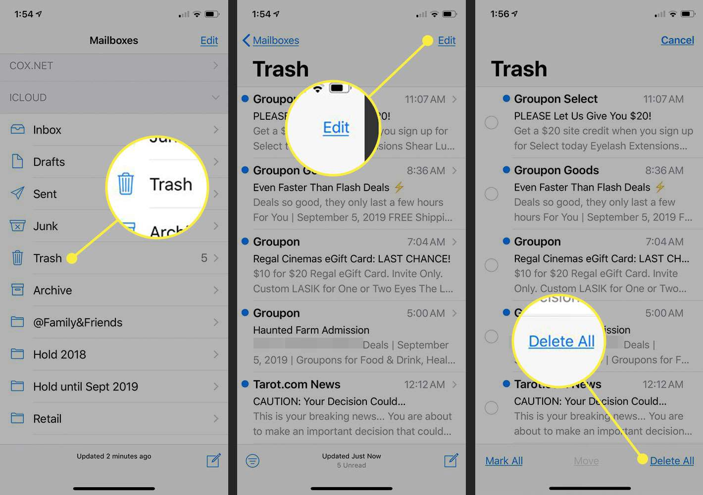 Screenshots of an iPhone showing how to delete the Trash folder in Mail