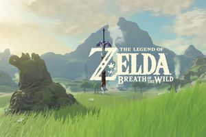 Breath of the wild title on landscape