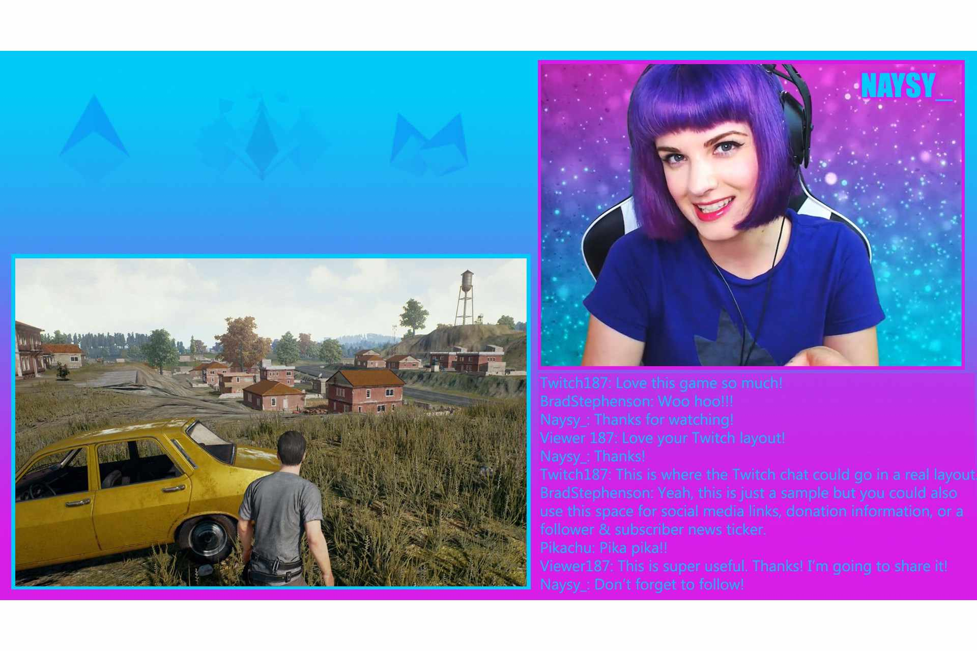 Sample Twitch layout created in Photoshop featuring Twitch streamer, Naysy_
