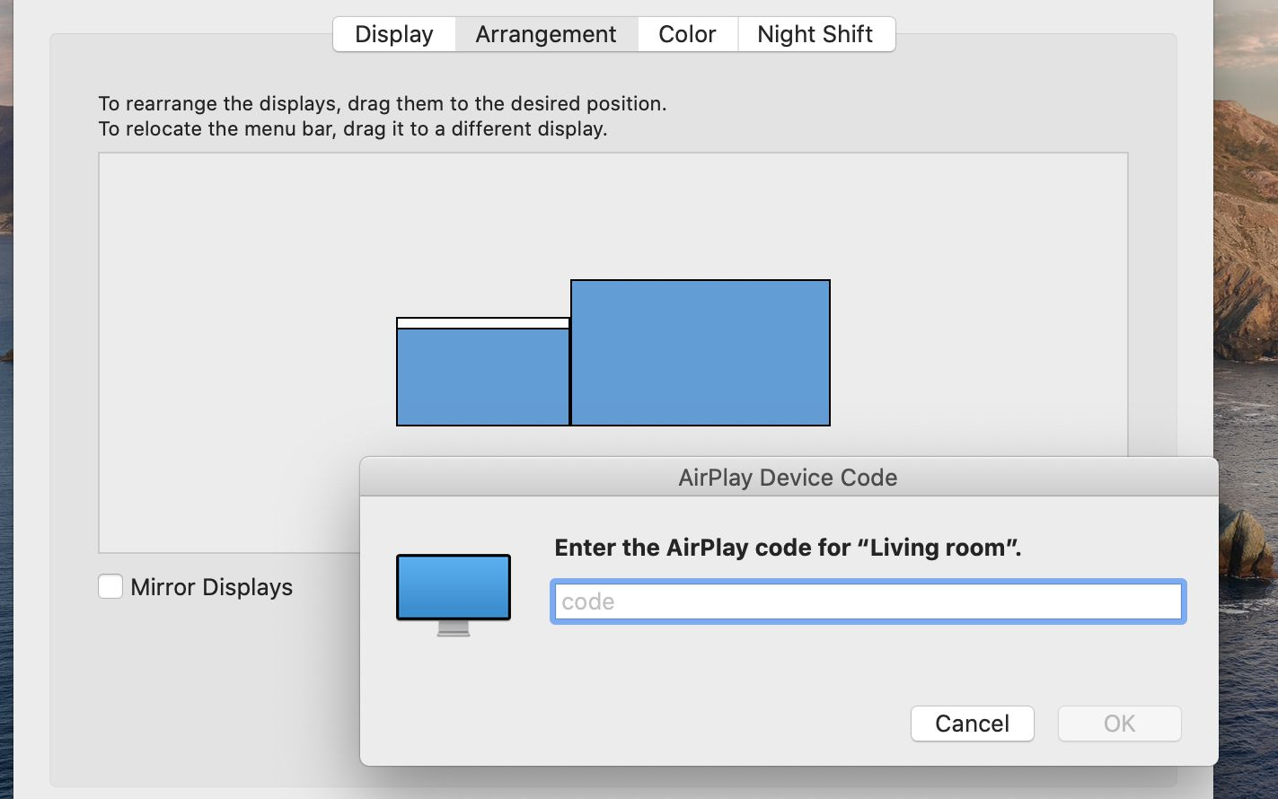 Add AirPlay code to connect to a smart TV from MacBook Pro