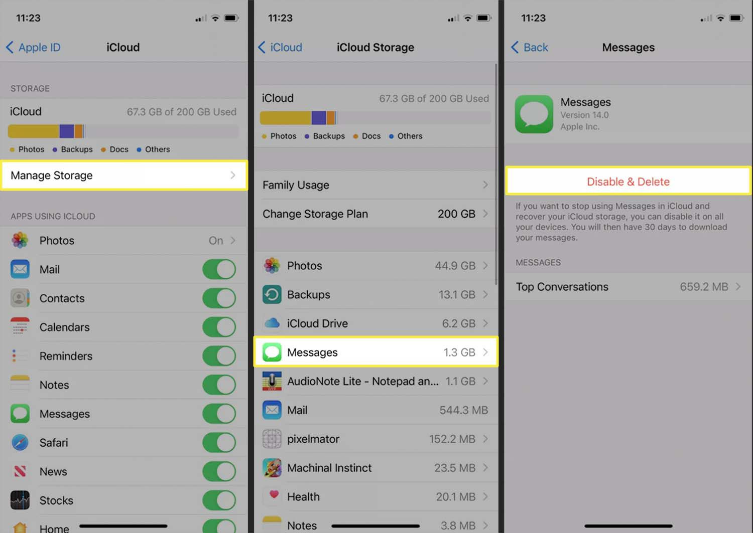 iCloud storage and the option to delete Messages data from an iPhone.