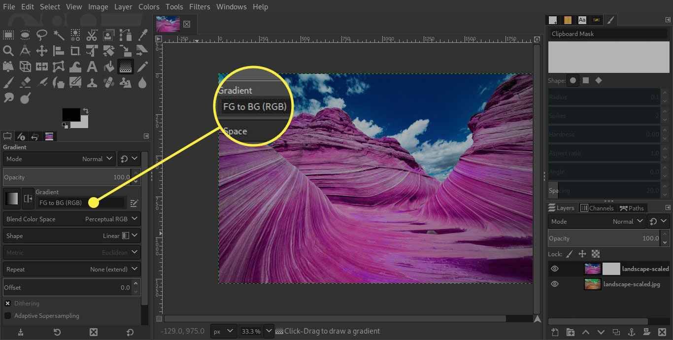 A screenshot of GIMP's Gradient Tool settings with the FG to BG option highlighted