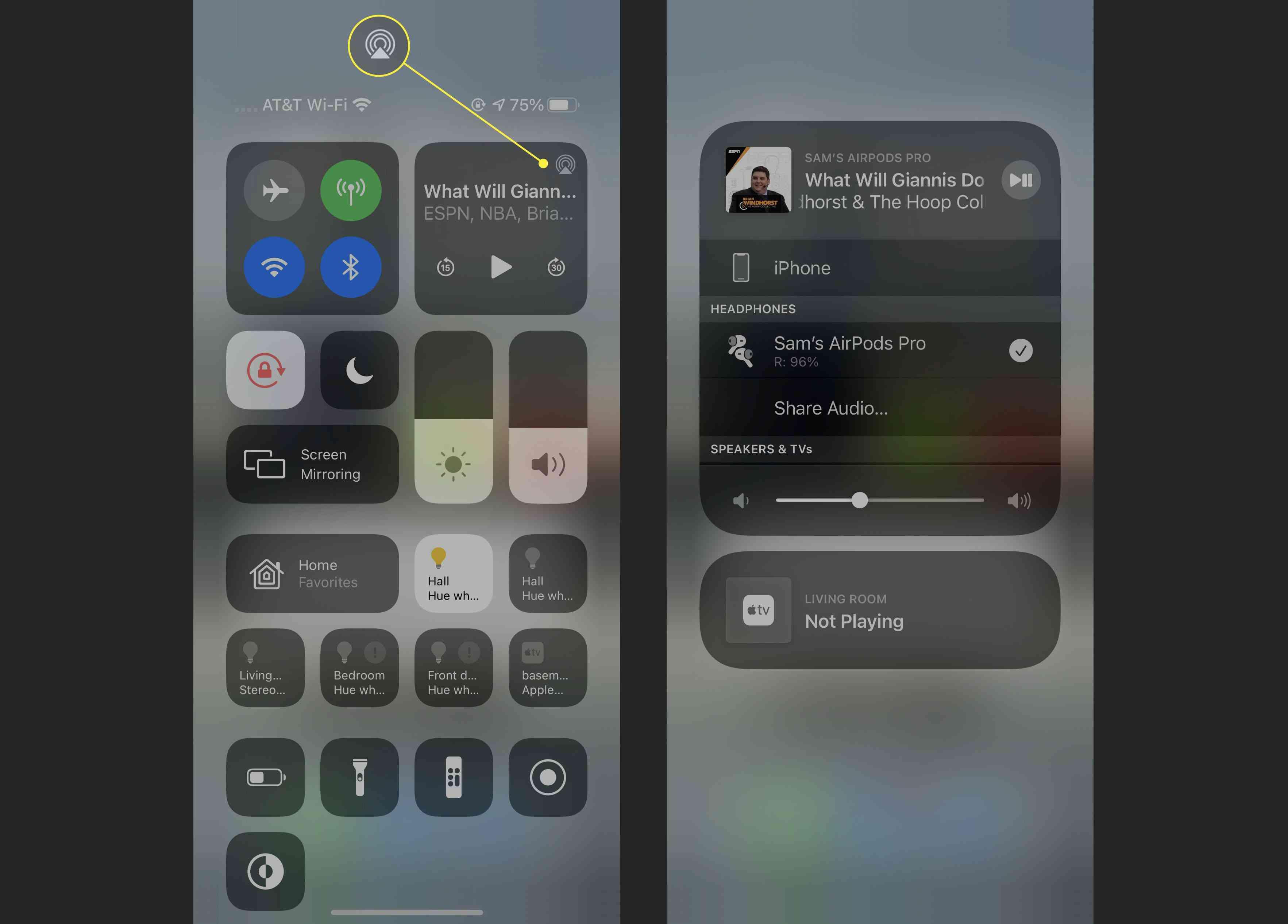 AirPlay menu on the iPhone.