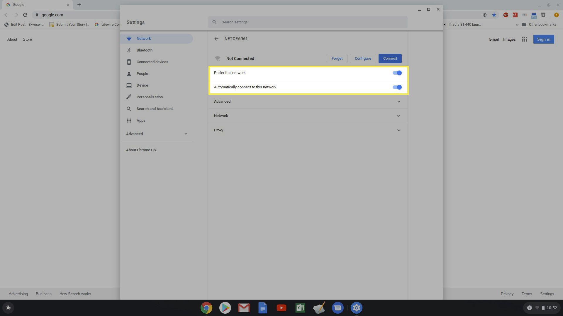 setting a preferred network on Chromebook