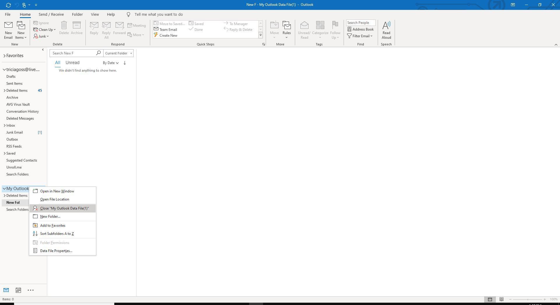 Screenshot of Close Outlook Data File in right-click menu