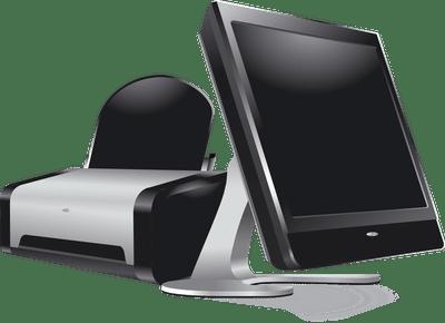 Computer monitor and printer.