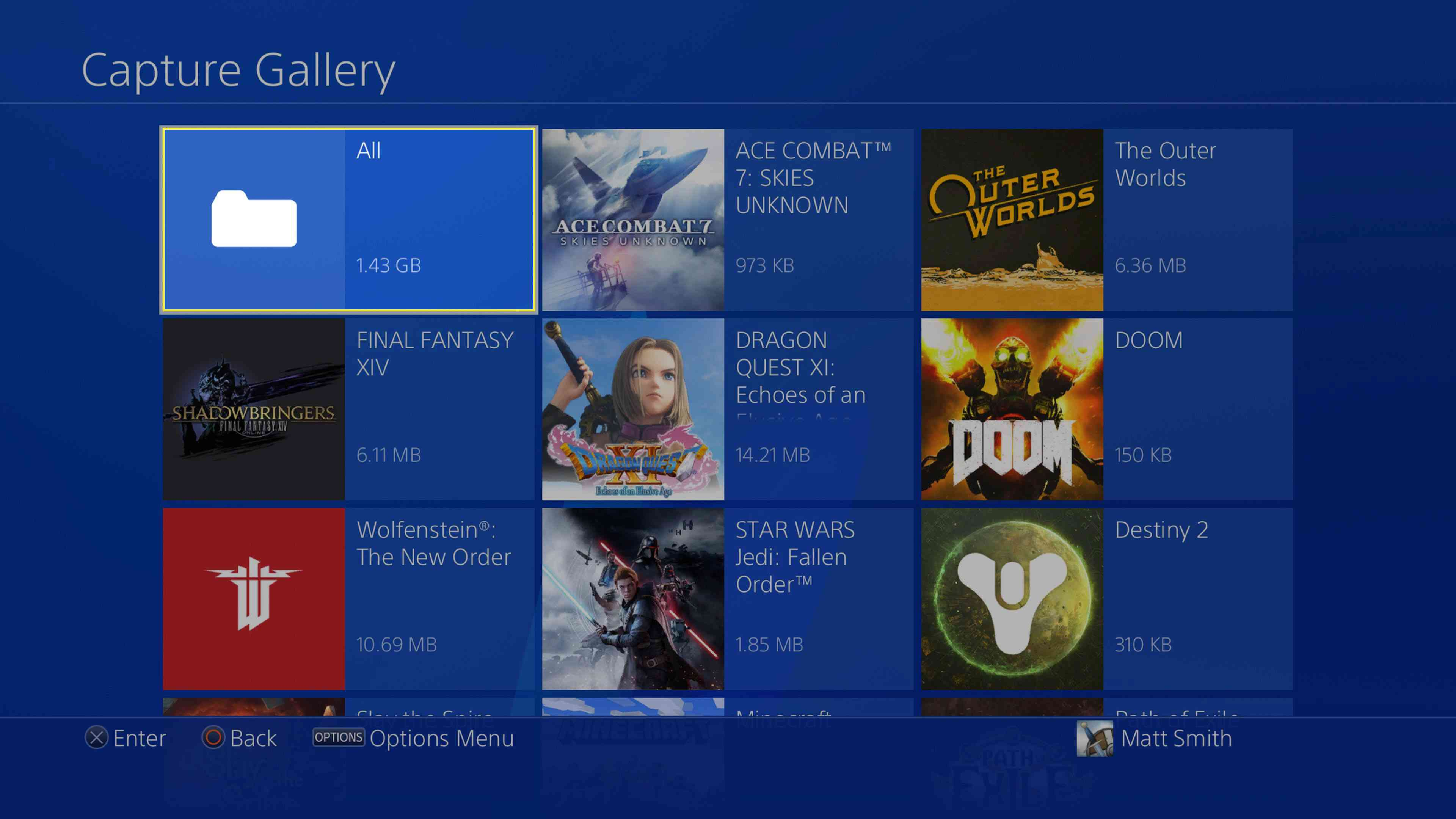 PlayStation 4 Capture Gallery open with All folder selected.