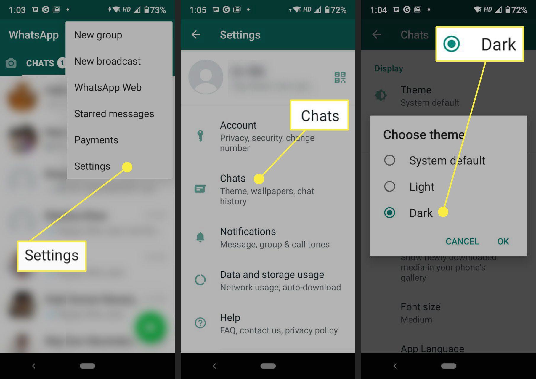Choosing Dark theme in WhatsApp Android.
