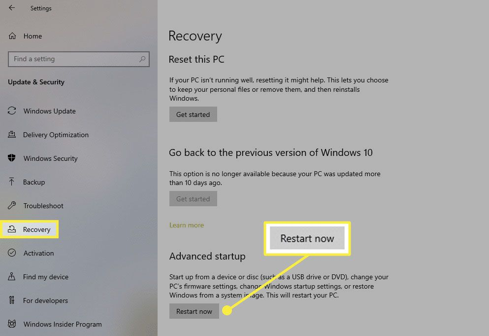 Windows 10 recovery options in Settings.