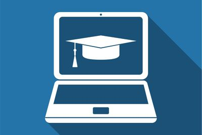 Graduation cap and laptop icon. Flat design. Vector Illustration