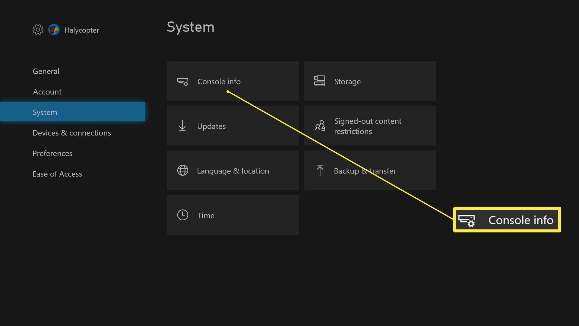 Xbox Series X Settings with Console Info highlighted