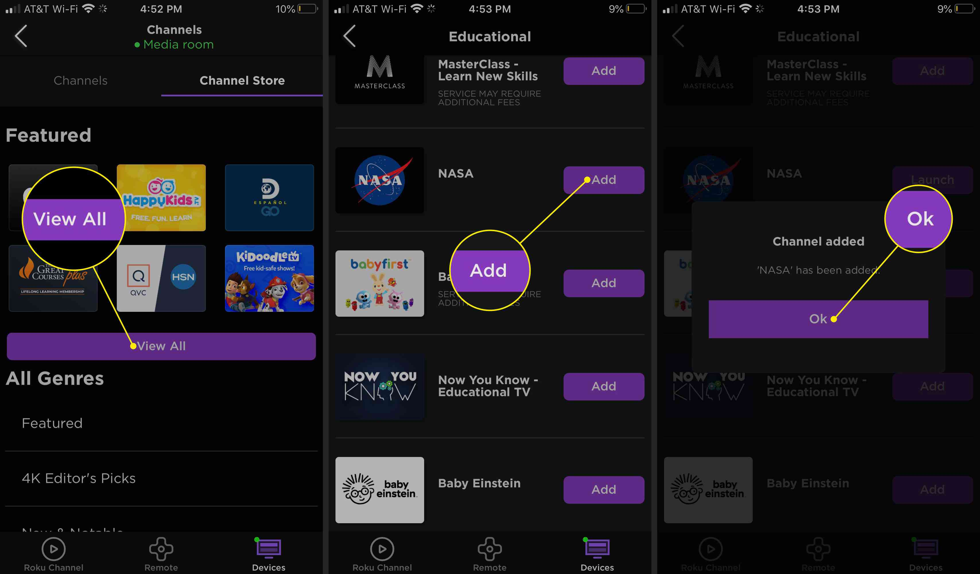 Installing a new channel in the Roku app