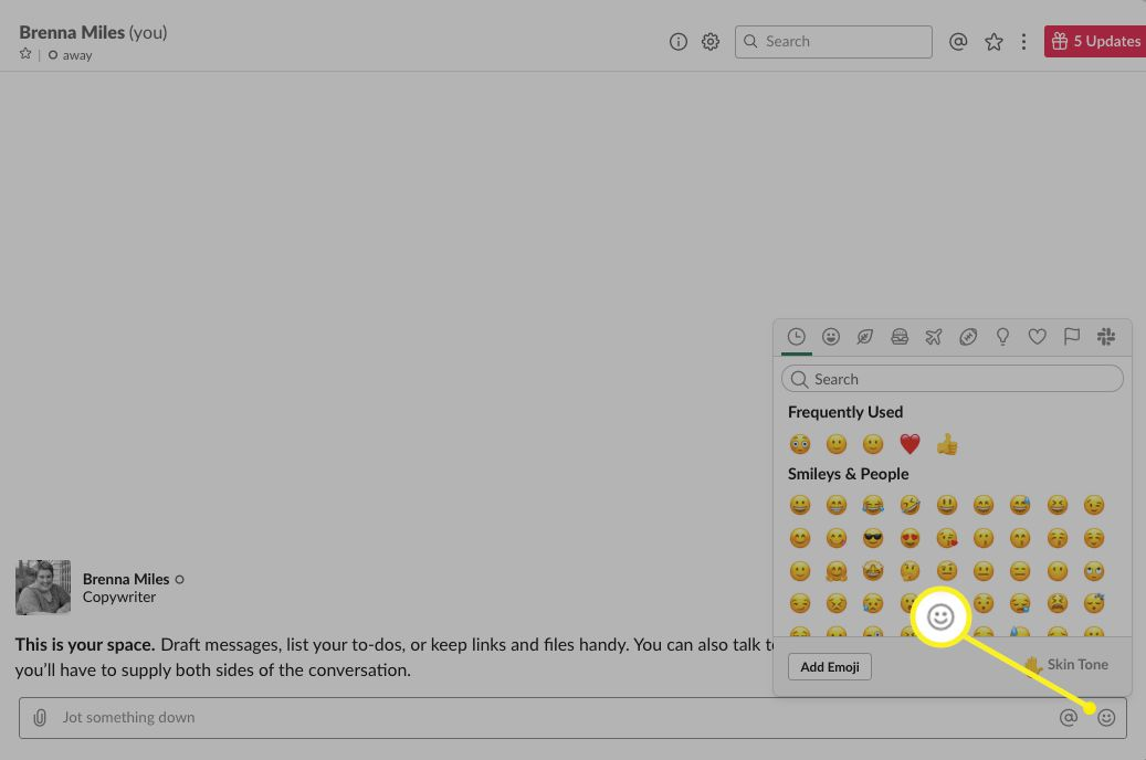 Slack with the smiley face next to the message field highlighted