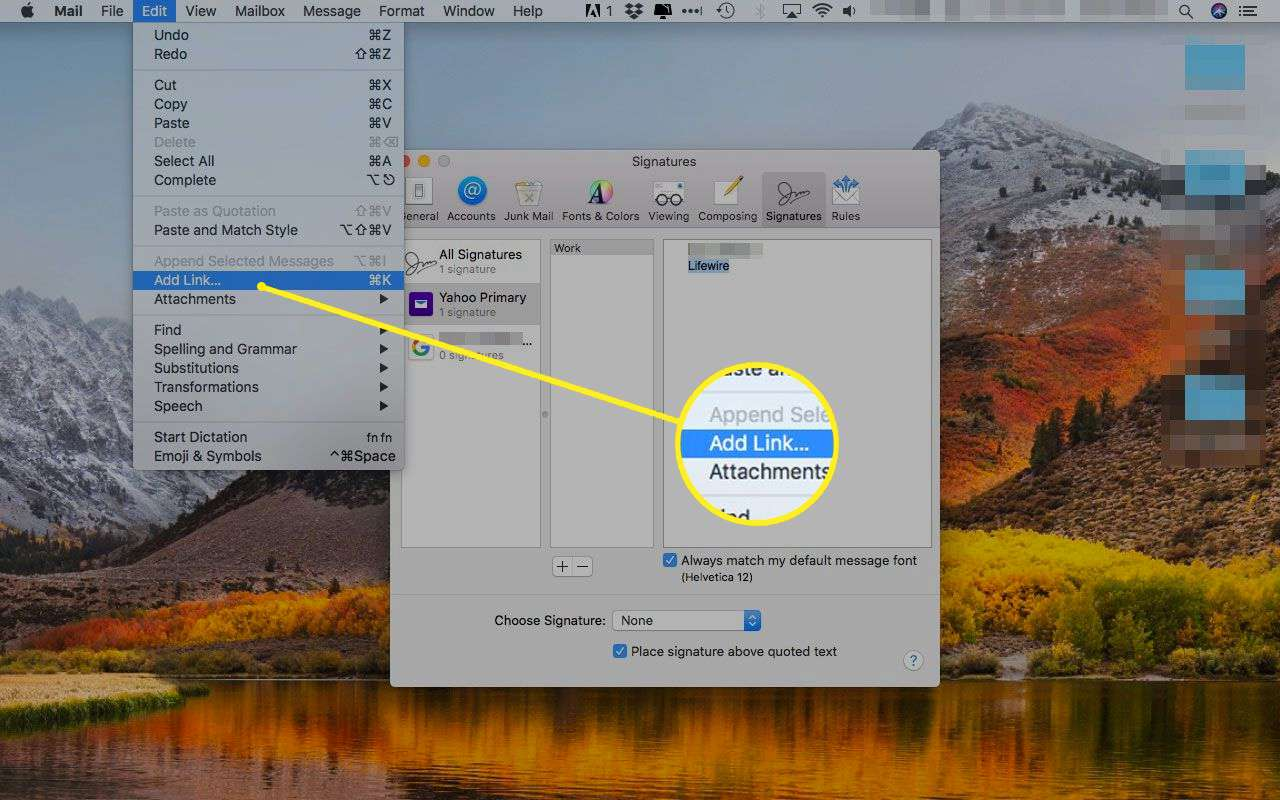 Apple Mail with the Add Link option under the Edit menu highlighted