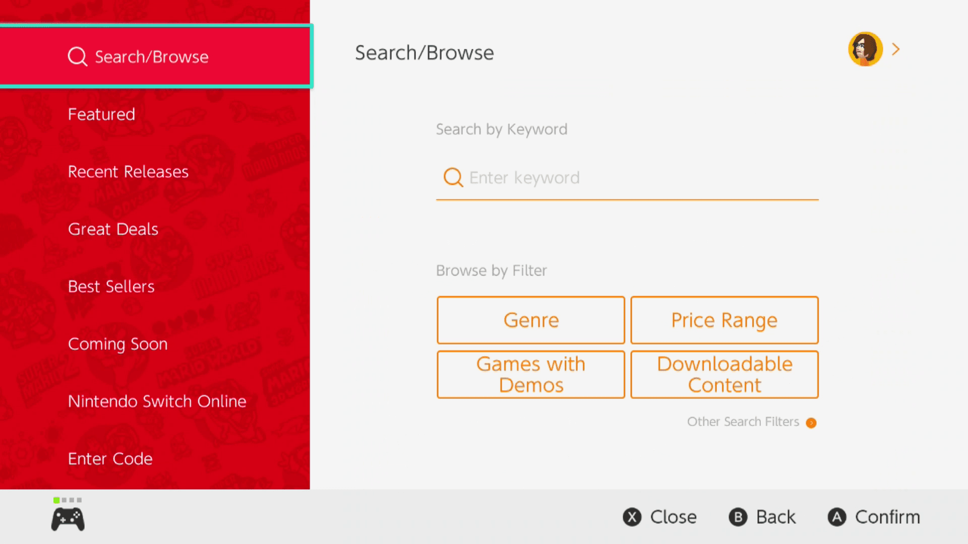 Search/Browse selected in the Nintendo eShop.
