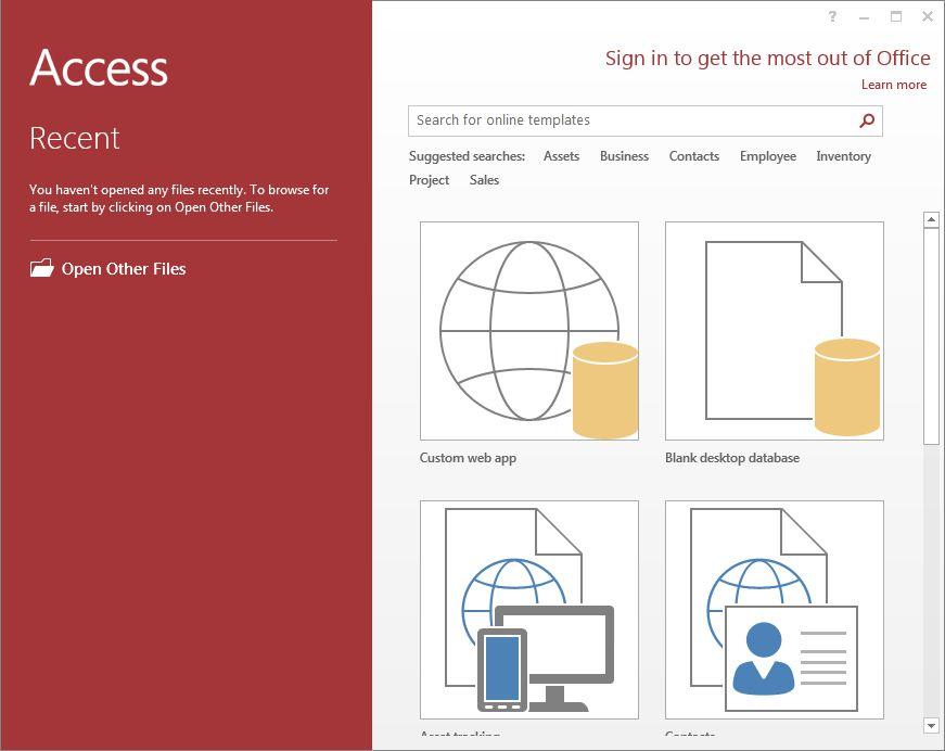 microsoft access templates 2013