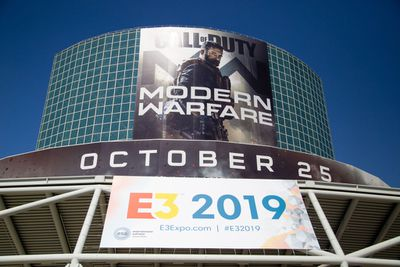 Welcome signage from main entrance of Annual E3 Event Showcases Video Game Industry's Latest Products on June 12, 2019 in Los Angeles, California