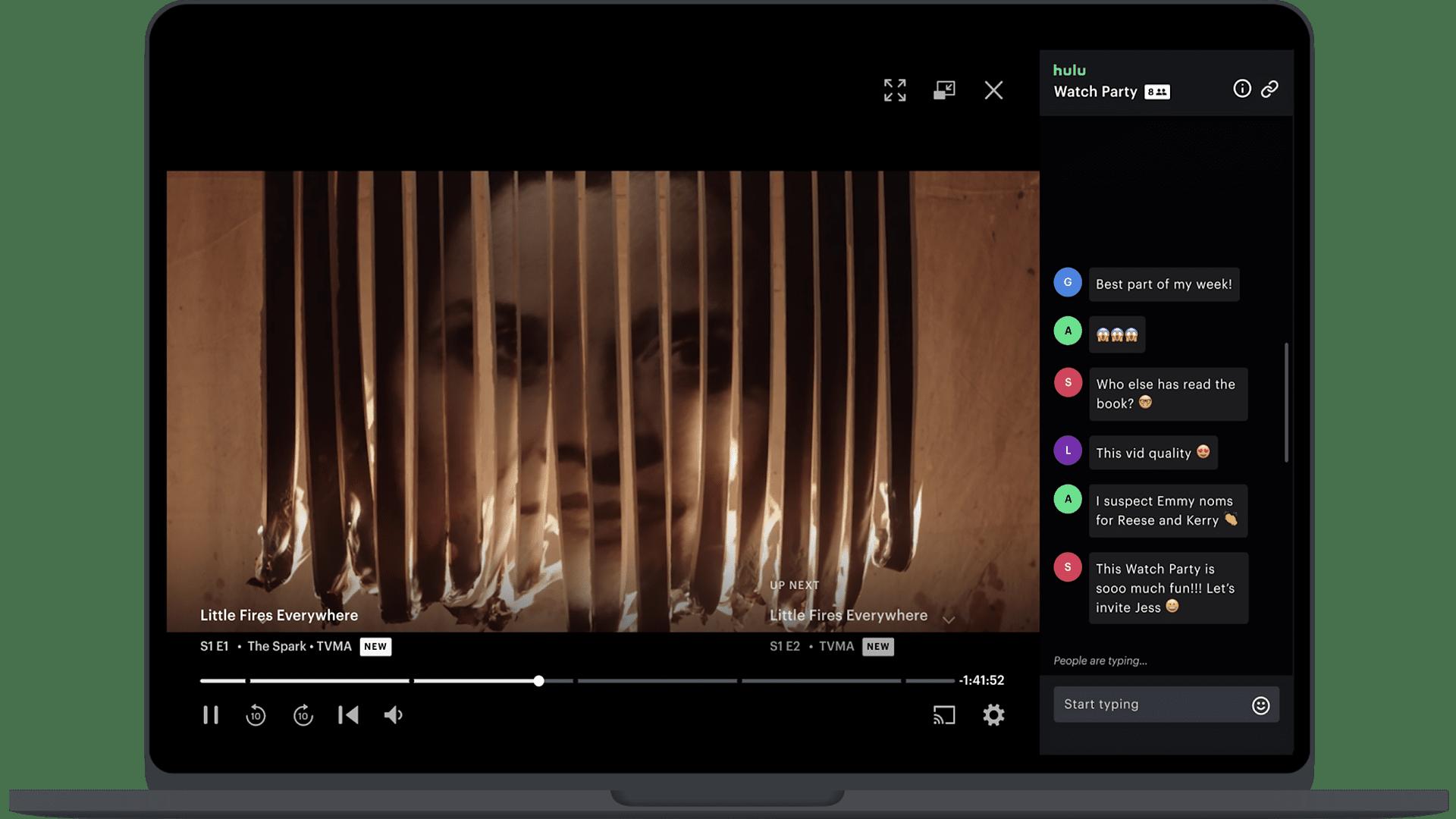 A Hulu watch party on a laptop.