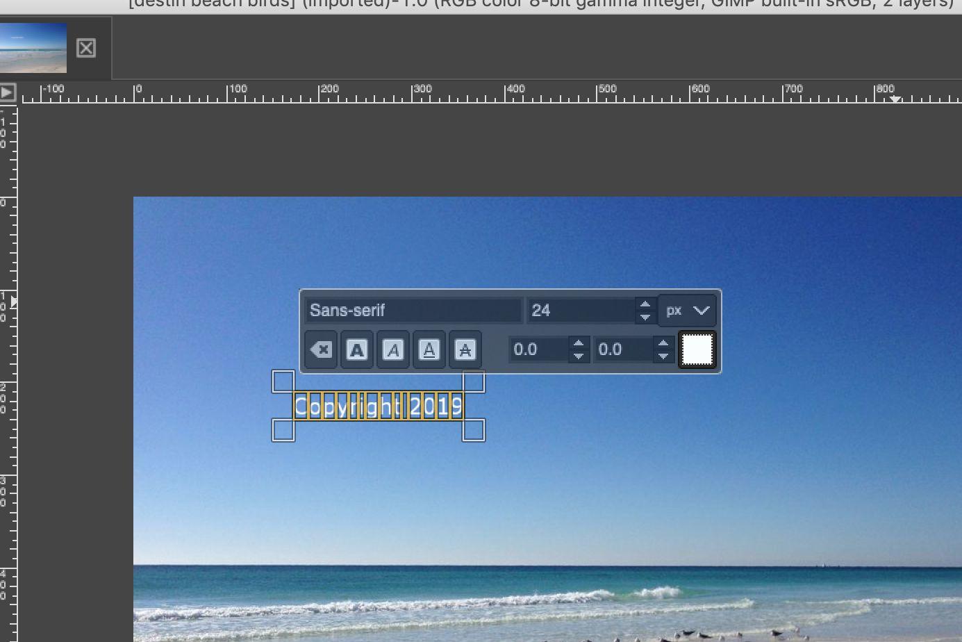 GIMP text tool dialog for watermark