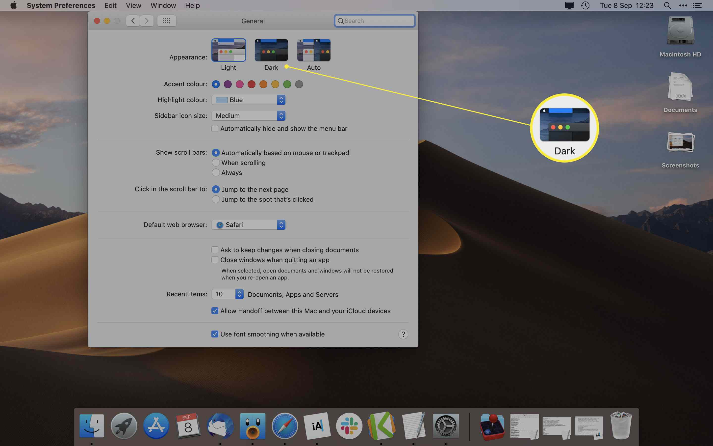 MacOS System Preferences with Dark Appearance highlighted