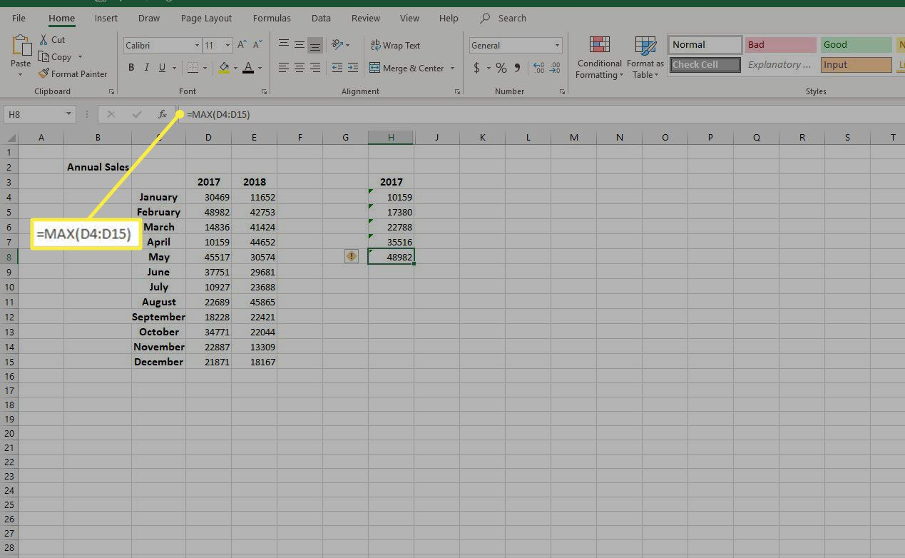 the formula =MAX(cell range)