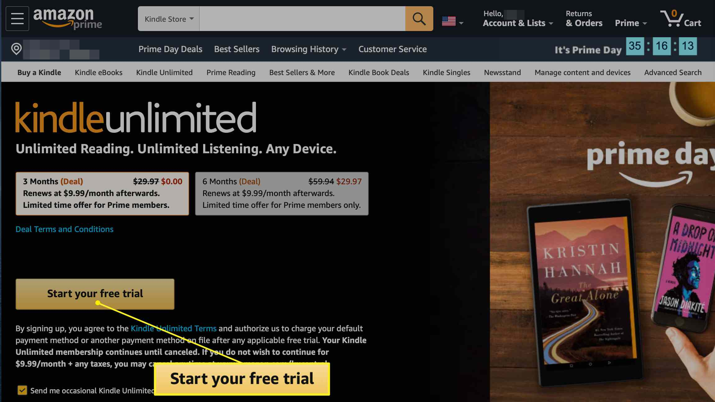 Start your free trial button on kindle unlimited screen