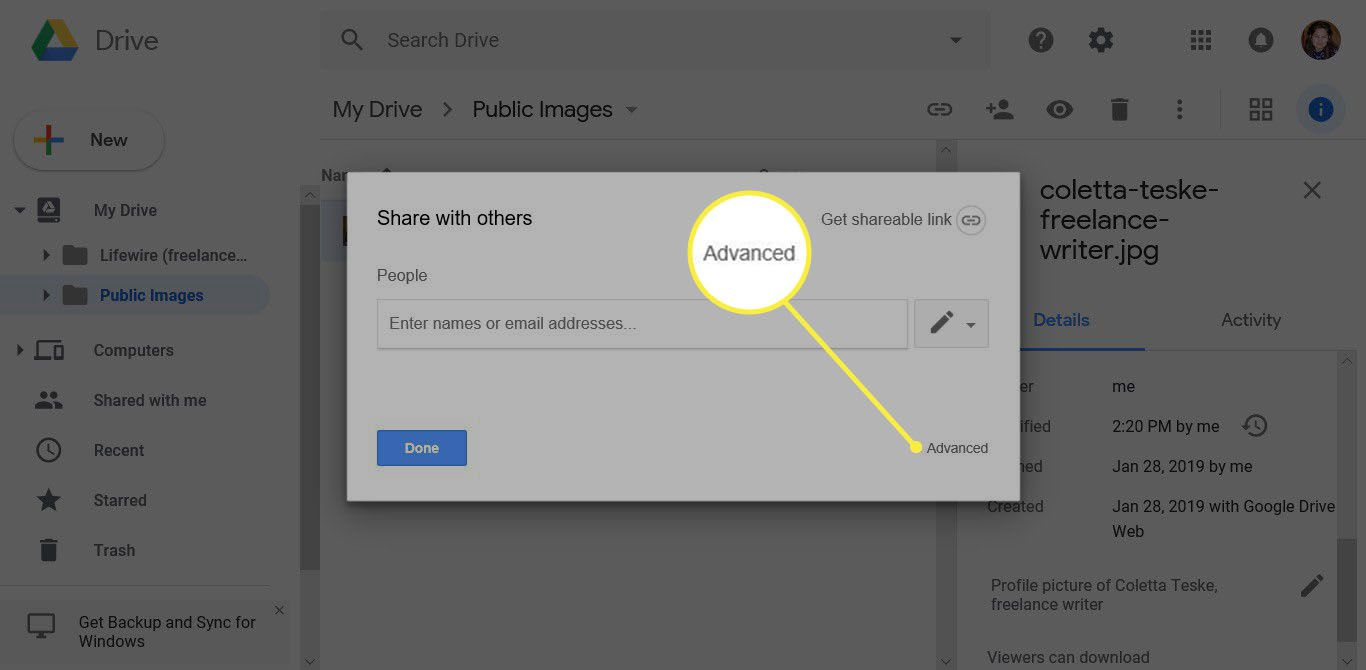 how to make a picture public to upload image on Google