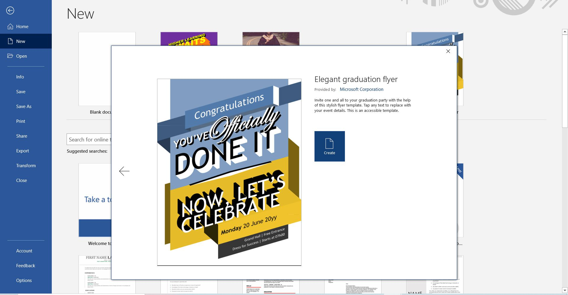 Typographical graduation party invitation template for Microsoft Word