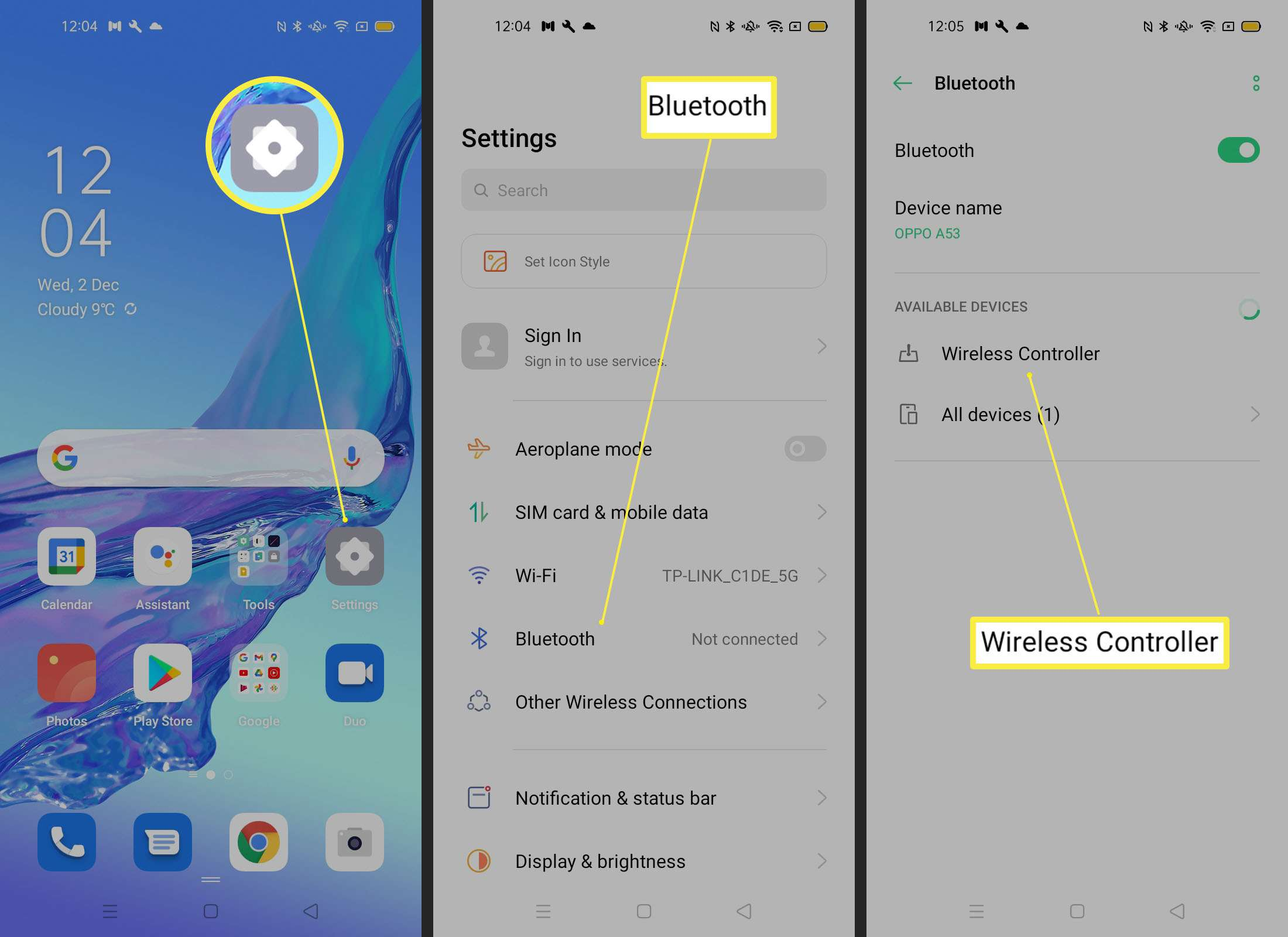 Steps on an Android phone to pair a controller via Bluetooth
