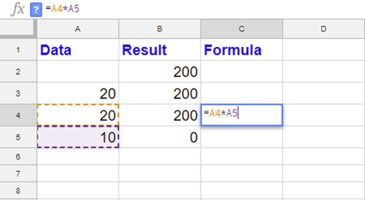 how to create multiply formula in numbers