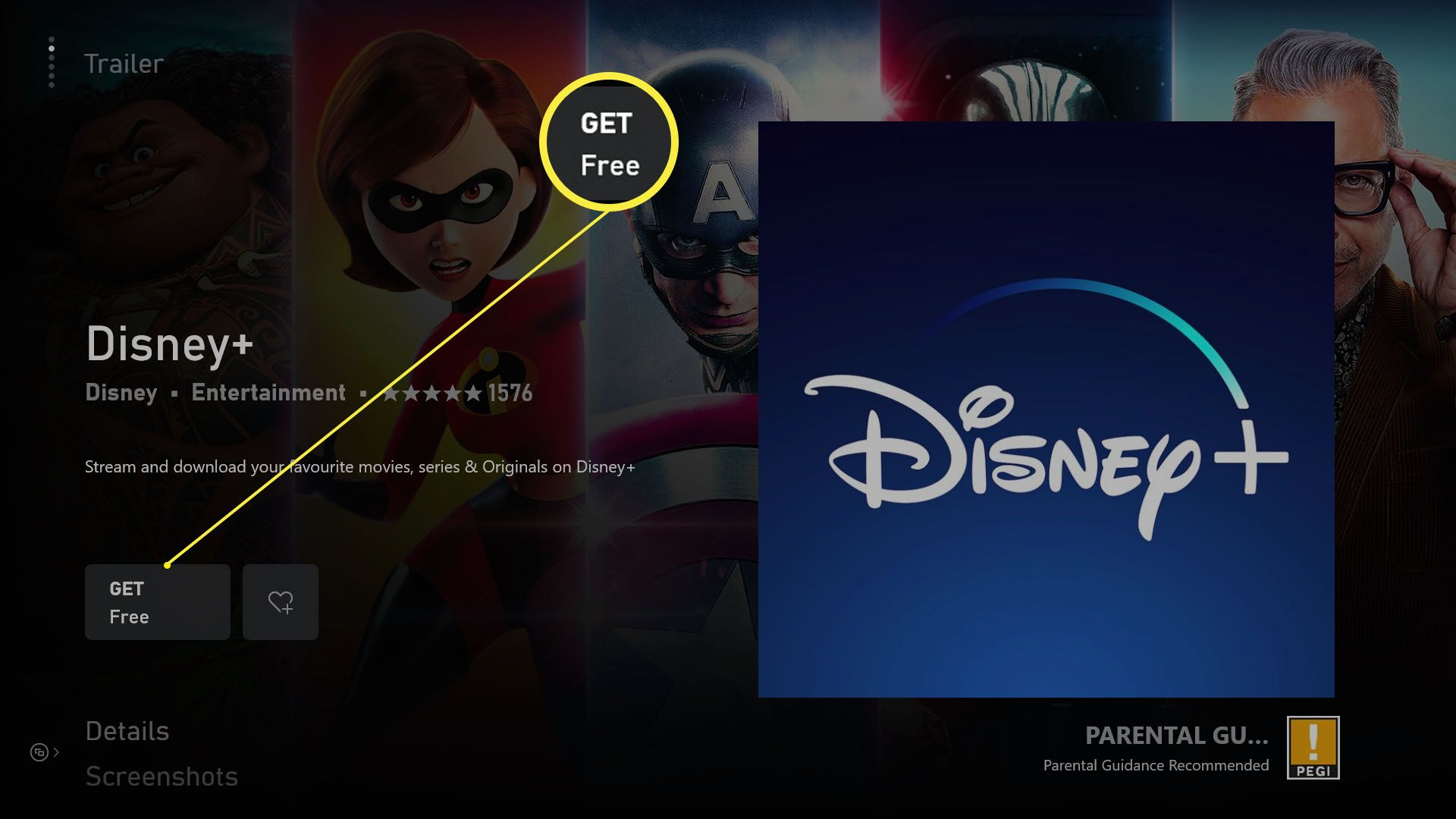 Xbox Series X/S store with Get highlighted when downloading an app