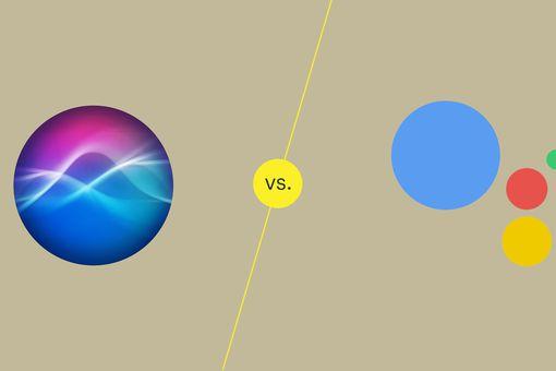 An illustration of Siri logo vs Google Assistant logo.