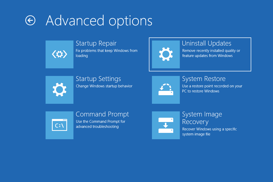 Uninstall Updates option highlighted in the advanced options screen of the aso menu