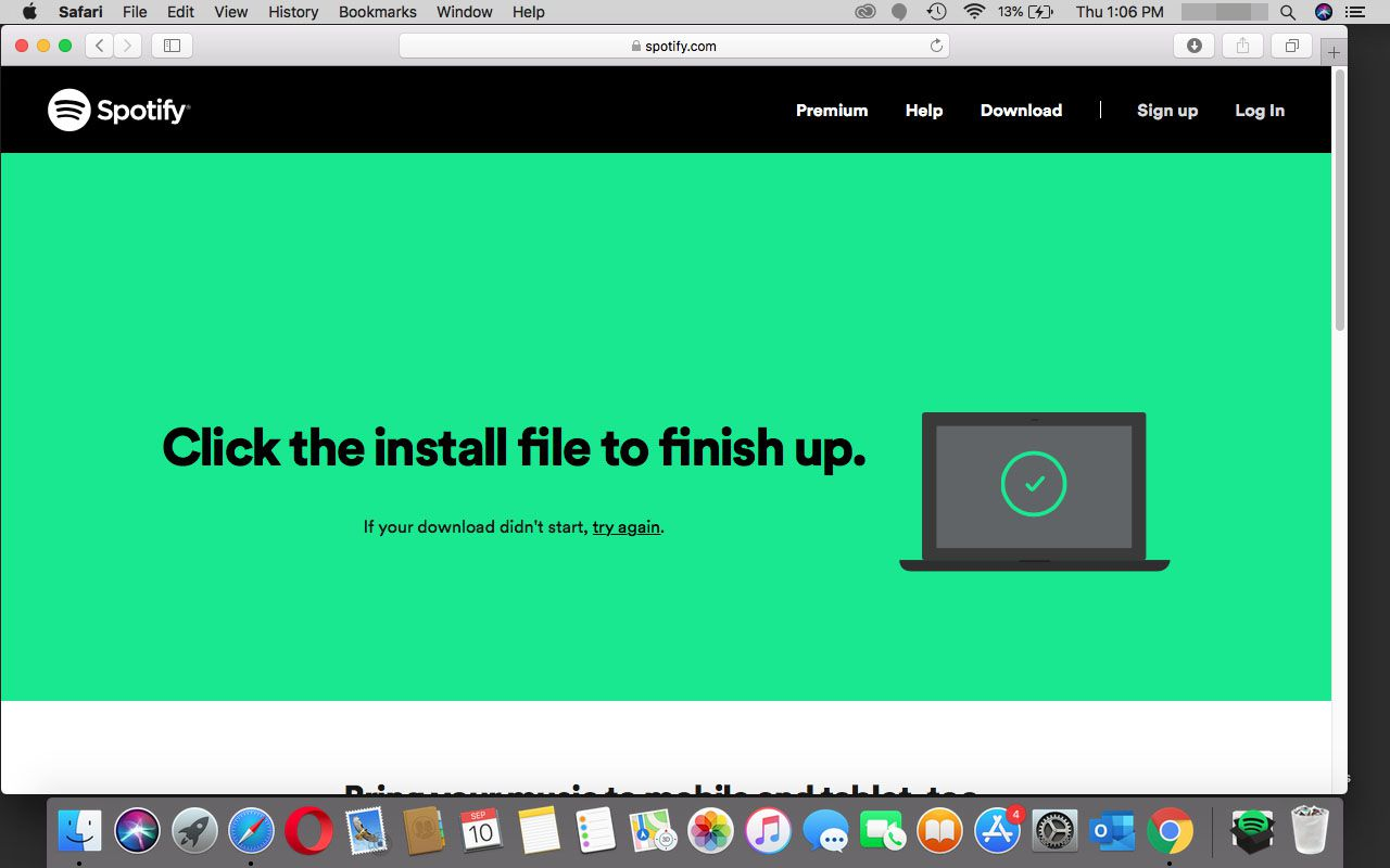 The Spotify website on macOS.