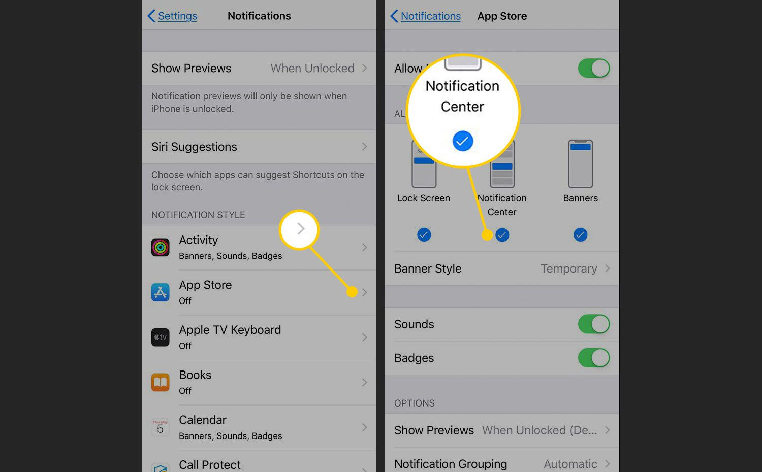 Notifications screen for an app in iOS Settings