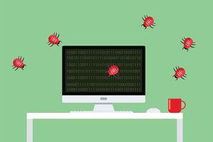 Bugs crawling across computer screen to represent malware