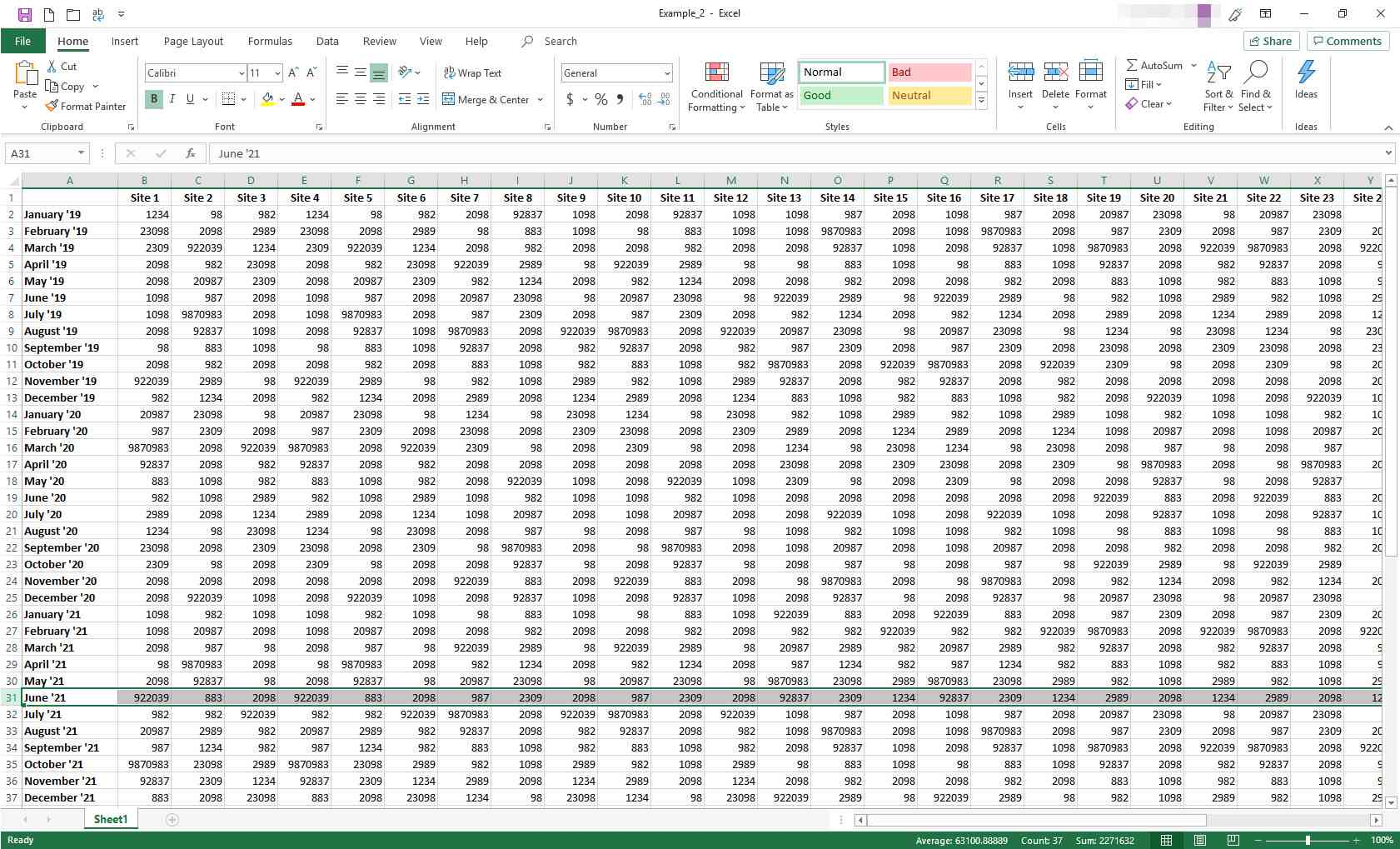 Excel worksheet with one row selected