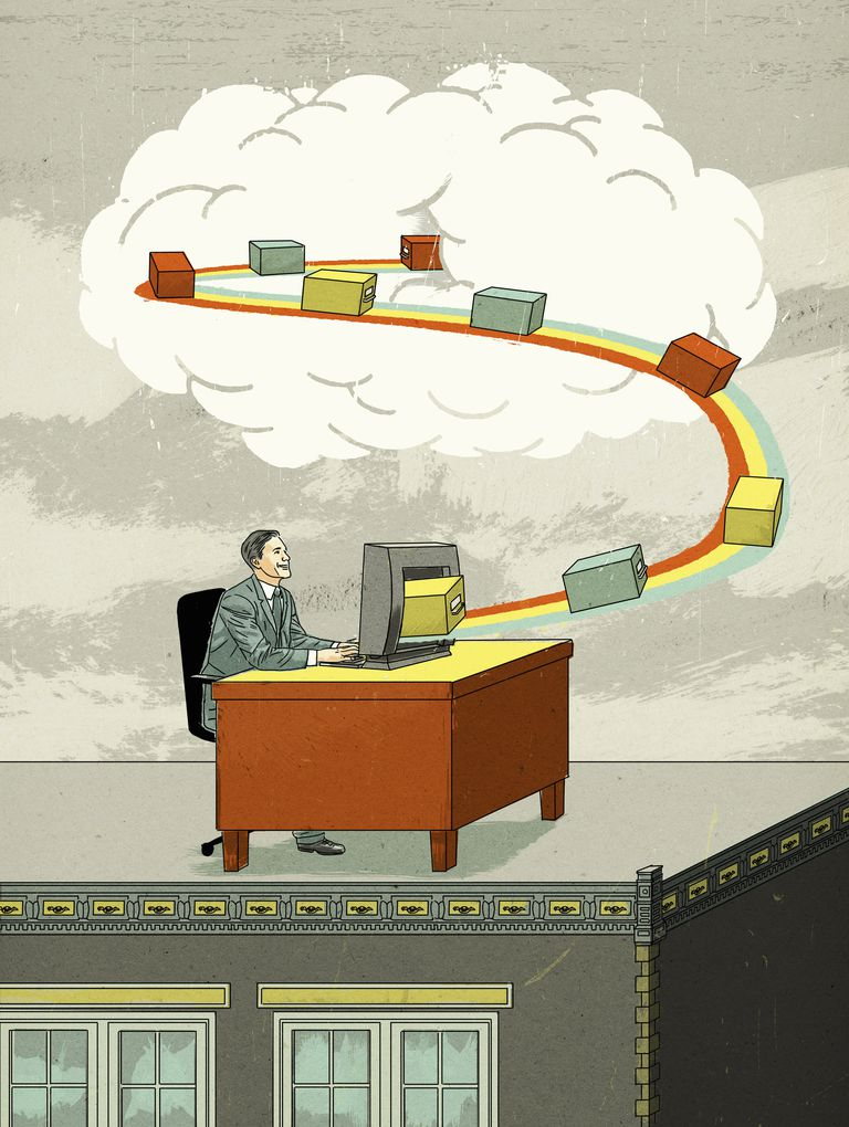 Businessman cloud computing sending storage boxes on conveyor belt from desktop computer to cloud