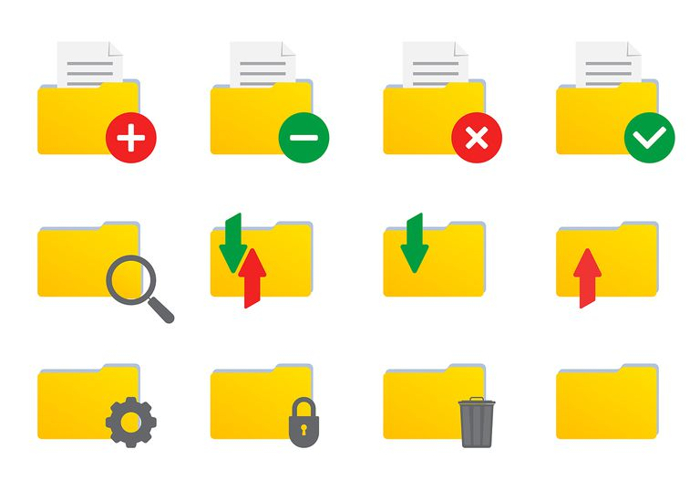 Folder icon set for file and documents. Vector illustration