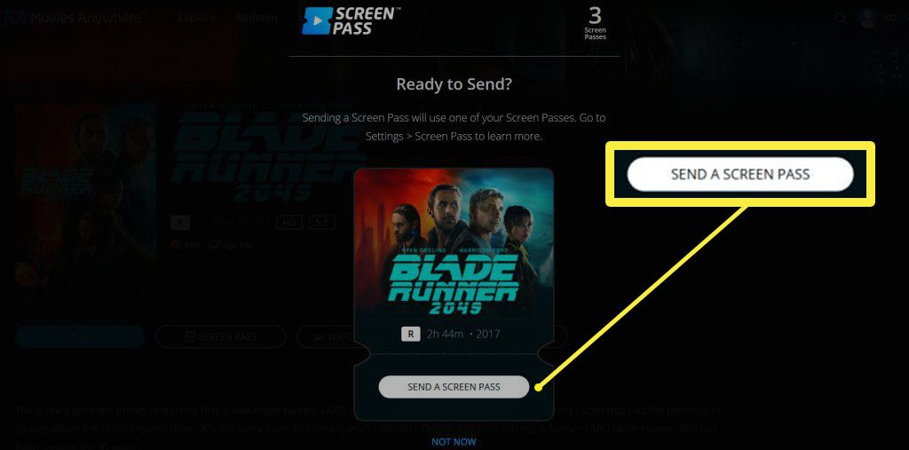 The Movies Anywhere site with the Send a Screen Pass button highlighted.