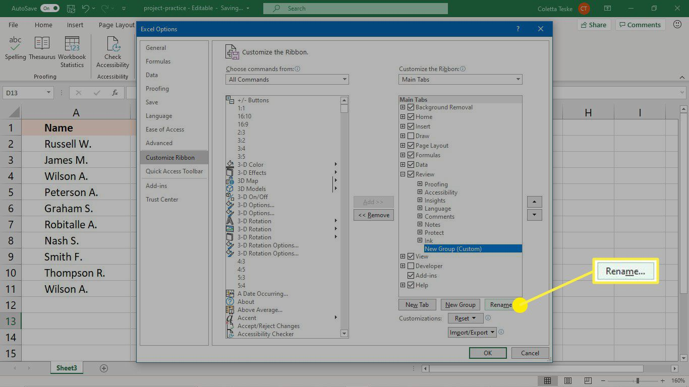 Rename the new group in Excel