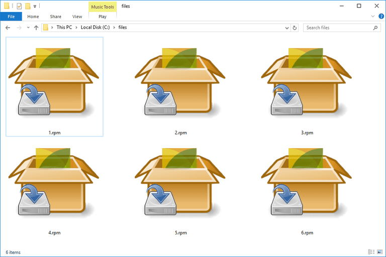 Screenshot of several RPM files in Windows 10