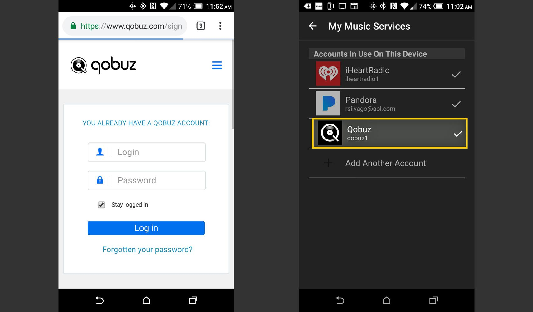 Sonos App – Qobuz Account Sign-in and Confirmation