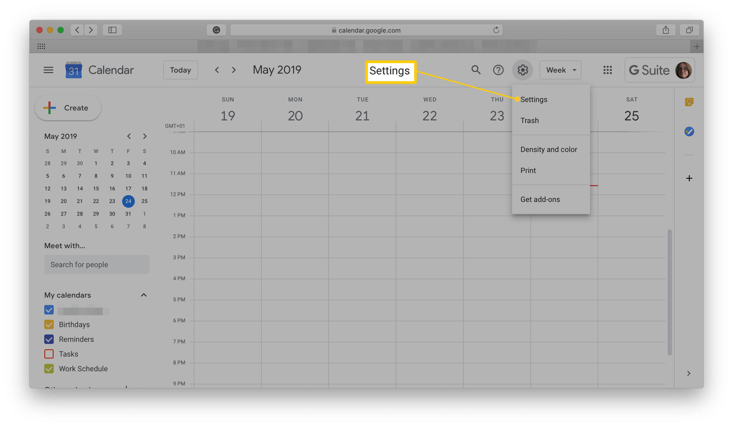 Google Calendar screen with Settings highlighted