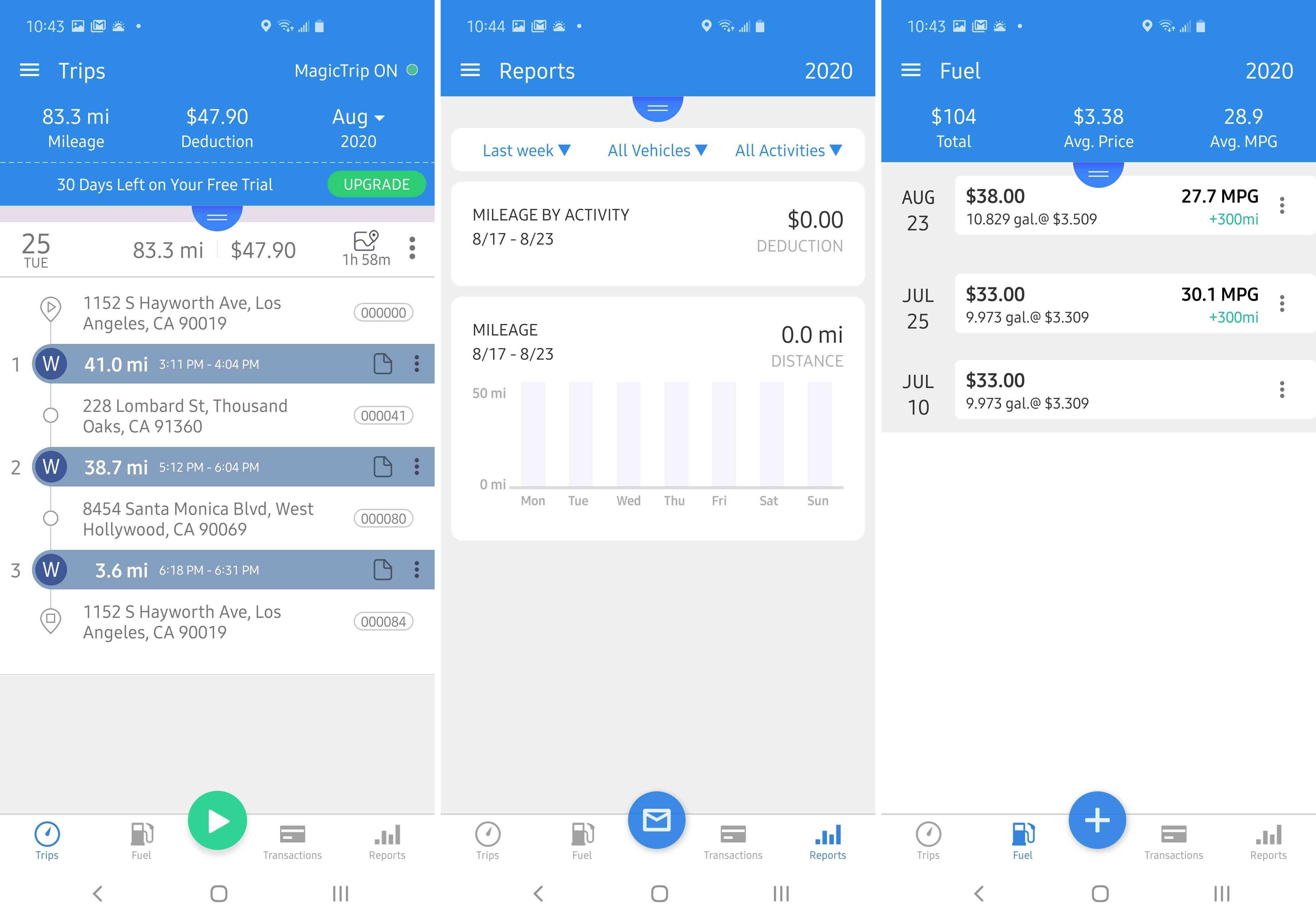 Three views of the TripLog app.