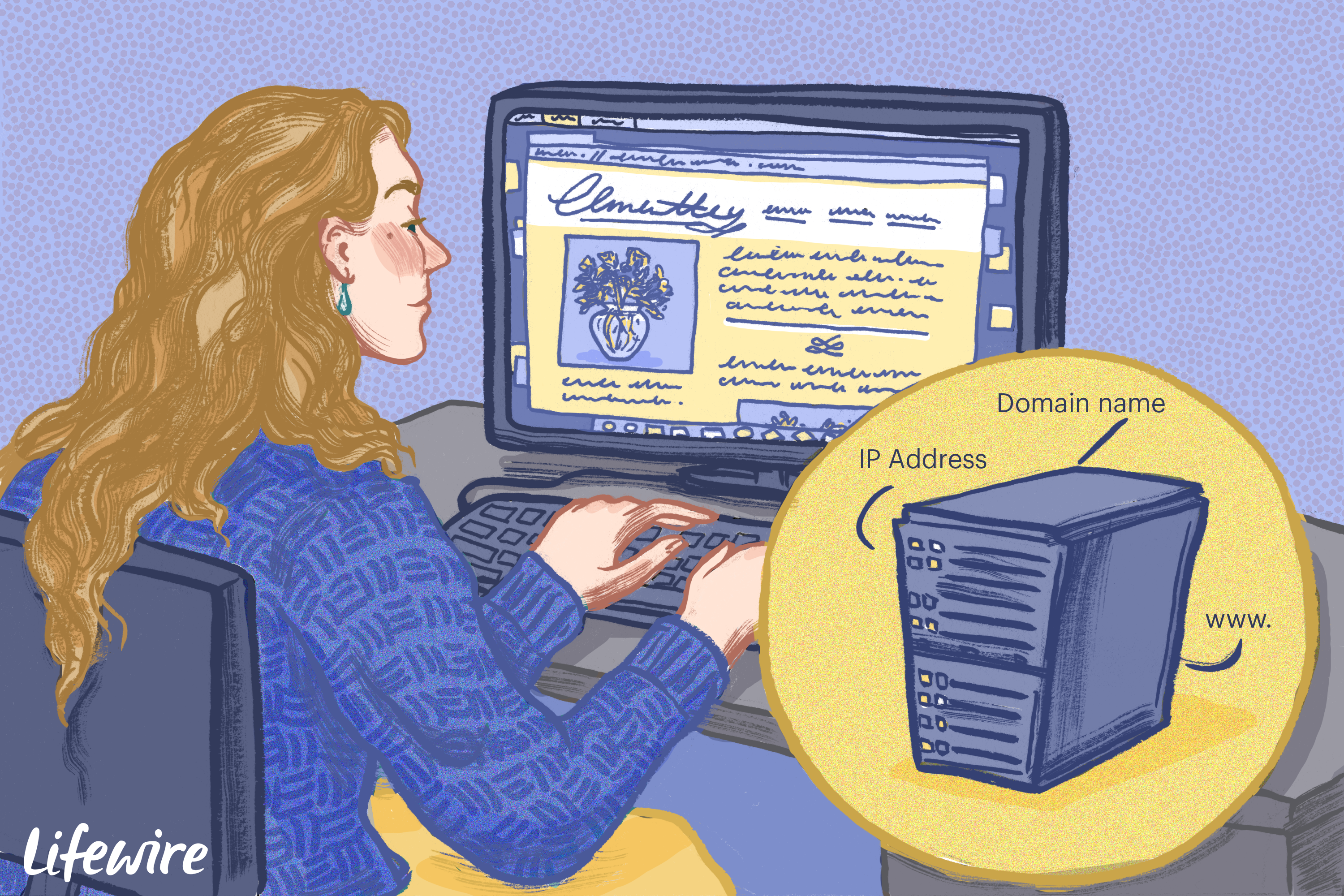 Person using a computer with inset of DNS server illustrated